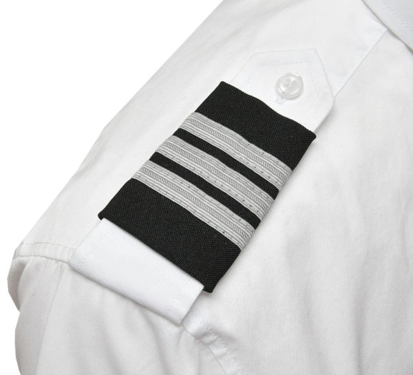 Three Silver Bar Epaulets - Nylon on Black