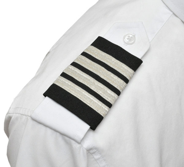 Four Silver Bar Epaulets - Metallic on Navy