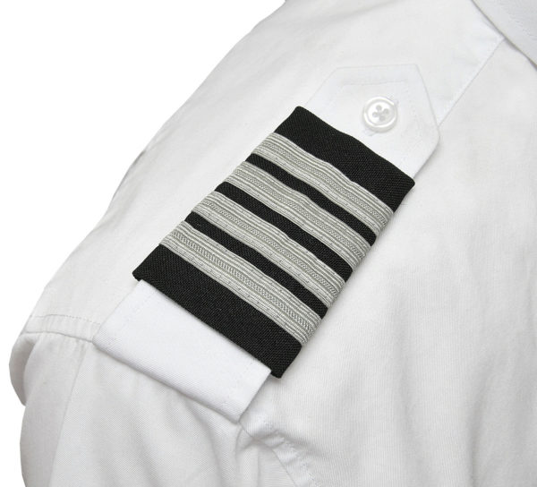 Four Silver Bar Epaulets - Nylon on Black