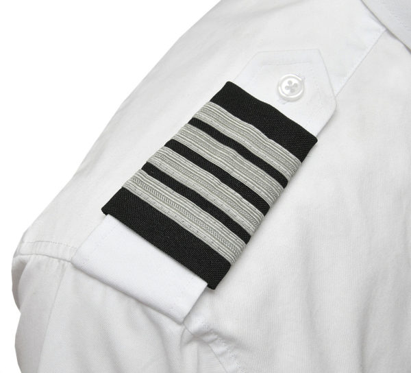 Four Silver Bar Epaulets - Nylon on Navy