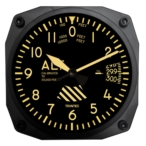 An altimeter wall clock for the home or office.