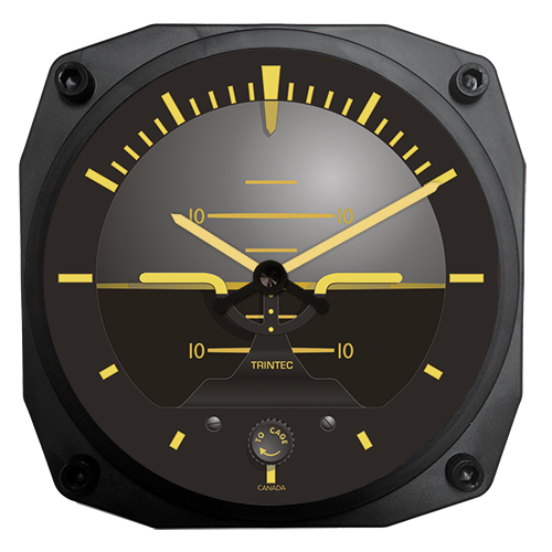An attitude indicator wall clock for the home or office.
