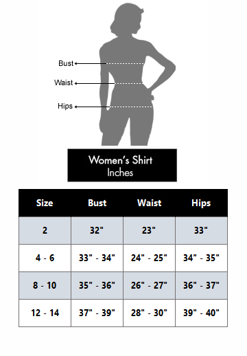 To help you select a comfortable shirt size, take measurements at the chest, waist, and hips. Compare those measurements to this size chart.